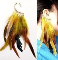 Wholesale Colorful Ear Cuffs - Free Shipping, PUNK Colorful Feather Ear Cuff Earring, 12pcs lot, 3 colors