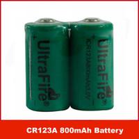 ingrosso batterie al litio cr123a ricaricabili-DHL libero / EMS / 100pcs / lot UltraFire ICR123A CR123A 800mAh 3V batteria al litio ricaricabile