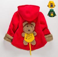 Wholesale Hood Bear - Kid's outerwear winter baby jacket with hat velvet thicken back cartoon bear girl's outerwear 4pcs l