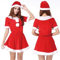 Wholesale Ladies Santa Velvet Dress - A new Arrival Lady Red Sexy Christmas Fancy Dress Set Xmas Santa Claus Women Velvet Costume Outfit