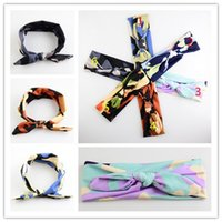 Wholesale Han Edition Rabbit - The latest Children's hair accessories Han edition rabbit ear hair band 7 color camouflage bowknot rabbit ears straps