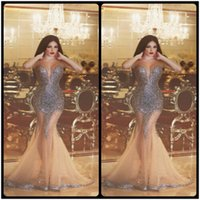 Wholesale Gorgeous Sweetheart Bling - Luxury Gorgeous Mermaid Beaded Champagne Evening Dresses Special Formal Party Gown Robe De Soiree 2016 Bling Prom Evening Dress