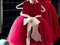 Wholesale Wholesale Custom Flower Girl Dresses - 2016 Hot Sale Good Quality girls Christmas Custom Flower princess yarn skirt Wedding Flower Girl Dress lace tutu Dress 6Size 80-130CM