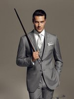 Wholesale Two Sided Pans - Custom gray mens wedding suits for men peaked lapel tuxedos 3 pieces mens suits slim fit grooms wedding suits groomsmen suit jacket+pan