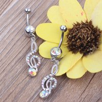 Wholesale Music Belly Button Rings - HOT Fashion 316L Steel Ball Rhinestone Music Note Navel, Belly Bar Ring 20pcs lot