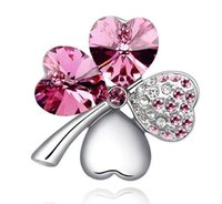 Wholesale Clover Brooch Pin - Silver Plated Brooch Rinestone Clover Breastpin Jewelry Free-Ni Free-Lead 30pcs lot Free Shipping
