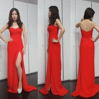 Sexy Red Chiffon Split Prom Party Dreses Long 2016 Милая без рукавов Ruched Front Side Slit Evening Formal Gowns Women Bridesmaid Dress