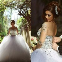 Wholesale Ivory Rhinestone Wedding Gown - 2017 Long Sleeve Wedding Dresses with Rhinestones Spring Quinceanera Dresses Crystals Vintage Bridal Gowns Backless Ball Gown Wedding Dress