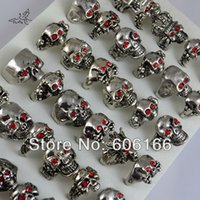 Wholesale Wholesale Rhinestone Skeleton Ring - Hot sales Mix Style Skull with Red Eyes Rings Ghost Punk Gothic Biker Bright Silver Tone Metal Alloy Ring Fashion Jewelry 36pcs lot