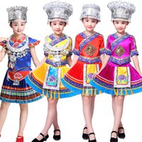 Wholesale Chinese Folk Dancing Costumes - Chinese Folk Dance Costume Children Hmong Chinese National Traditions Clothes Girls Miao Dance Costume Stage wear Performance