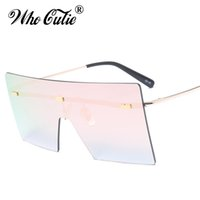 WHO CUTIE 2018 Oversized Rimless One Piece Pink Óculos de sol Mulheres Retro Vintage Big Square Frame Sun Glasses Rays Shades OM458