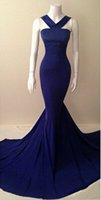 Wholesale Simple Elegant Dress Designs - real photo Sexy Elegant Womens Mermaid Prom Dresses Online Simple Design Evening Party Gowns royal blue Formal Dress