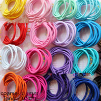 Wholesale Tie Ponytail Extension - 100pcs lot 20 Colors Baby Girl Kids Tiny Hair Accessary Hair Bands Elastic Ties Ponytail Holder