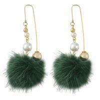 ingrosso perle veneziane-idealway 5 colori placcato oro bohemien gancio perla veneziana palla di lana ciondola gli orecchini pendenti per le donne accessori per la festa nuziale di moda