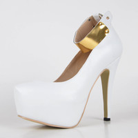 weiße geschlossene zehe kleid schuhe großhandel-Mode High Heel Weiß Kleid Schuhe Faux Leder Frauen Stöckel Absatz Plateauschuh mit Knöchel-Kette Geschlossen Runde Kappe Schuhe Frauen High Heel