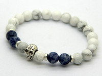 Wholesale Turquoise Skull Ring - Wholesale New Beaded Mens Antique Silver and Gold Skull Yoga Bracelets,8mm Natural white Howlite stone Beads Jewelry