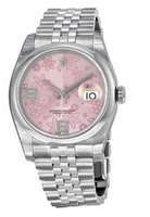 Wholesale 36mm Automatic Watch - Luxury WATCHES Floral Pink Dial Stainless Steel Jubil Automatic Ladies Watch 36mm Man Wristwatch