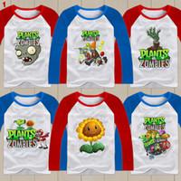 Wholesale Plants Vs Zombies Clothing - Wholesale-2015 autumn Plants vs Zombies T-shirt 100% cotton Children's clothes boy girl Plants vs zombies long-sleeve T-shirt