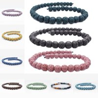 Wholesale 14mm White Stone Beads - Multi Color Lava Beads 14mm Natural Stone Volcanic Rock Round Loose Beads DIY Jewelry Bracelet Making Volcano Stone Bead D215S