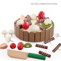 Wholesale Fruit Development - Wholesale- 2017 Magnetic wood Cutting Fruit Cake Pretend Play Children Kid Educational Toy Kids Toys For Children Intelligent Development