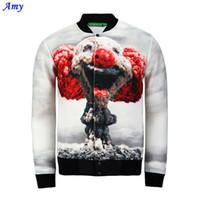Wholesale Mushroom Jacket - Fall-[Amy] New cute mushroom cloud clown print 3d jacket men women harajuku swag funny jackets summer casual Outerwear JK10