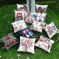 Wholesale Wholesale Owl Pillow - Owl New Pillow Cases Owl Pillow covers 45*45CM European Vintage Cushion Cover Pillow Case Retails Best Wedding gift Home Textiles D67 10pcs