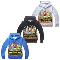Wholesale Larger Children Clothes - Fashion Cartoon Five Nights at Freddy's FNaF Boys Hoodies T-shirt 5-12Y Larger Boy Hooded T Shirts Children Spring Autumn Print Clothing