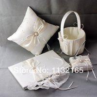 Wholesale Garters Guestbook - Wholesale-Wedding favors new pearl diamond white satin Guestbook Pen Set Ring Pillow Flower Basket bridal garter wedding five-piece