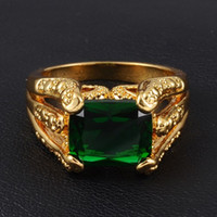 Wholesale Emerald Rings For Men - Men's Big Retro Green Emerald Gemstone 18K Yellow Gold Filled Claw Ring for Men Nice Gift