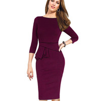 Wholesale Women Business Wear - Wholesale-Autumn Winter Women Dress Three Quarter Sleeve Women Work Wear Dress Bodycon Pencil Ladies Formal Business Office Dress B228