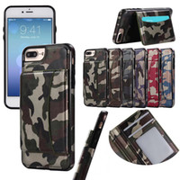 Wholesale leather folding phone wallet case - Army Camo Camouflage Flip Case For iPhone 7 6 6S 8 Plus Multifunction Wallet Phone Bags with Card Slots And Fold Magnetic Stand