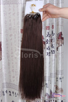 Wholesale Mirco Hair Extensions - New Arrival Dark Brown #4 Easy Loops Mirco Rings Beads Tipped Human Hair Extensions Indian Remy Straight 100s 0.5g s Full Head Volume