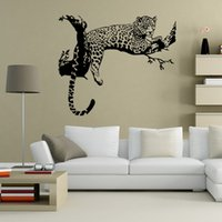 Wholesale korean style bedroom design - 48*80cm Black White Tiger On The Tree Wall Stickers For Kids Rooms Decorative Adesivo De Parede PVC Wall Decals New Arrival 2016