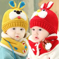 Wholesale Cap Suit Girl - Unisex Children Knitted Caps and Scarf Winter Warm Suit Set Baby Kids Cute Rabbit Pattern Beanies Hat Set MZ3092