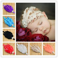 Wholesale Wholesale Curled Feather Headbands - Baby Curled Feather Hairband Elastic 15 Colors Fashion Kid's Children Headbands Hair Accessories for Wholesale