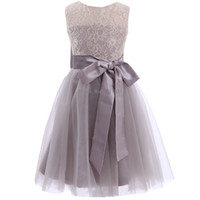 Wholesale print big pictures - 2018 New Lace Tulle Pretty Grey Tutu Flower Girl Dresses Plus Size Sleeveless With Big Bow Baby Girl Infant Toddler Gown