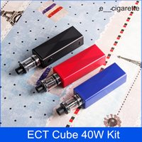 Wholesale Glass Cubes Wholesale - ECT Cube 40W kit Authentic box mod e cigarette Elfin build in battery 2200mah 0.3ohm vape mod electronic cigarette vaporizer
