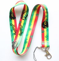 Wholesale Bob Strap - WHOLESALE New Hot 50pcs Bob Marley Mobile Phone LANYARD Cell Phone Neck Strap key chain Free shipping
