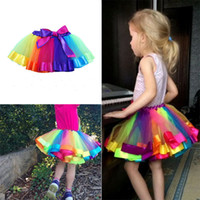 Wholesale Girls Wearing Pettiskirts - Colorful Tutu Skirt Kids Clothes Tutu Dance Wear Skirts Ballet Pettiskirts Dance Rainbow Skirt Ruffled Birthday Party Skirt