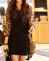 Wholesale Coat Outerwear Leopard Print - Wholesale-New 2015 Women's Ladies Leopard print Batwing Sleeve Loose Chiffon Coat Tops cardigan Outerwear S,M plus size#