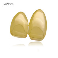 LuReen 4 Color Brillante Doble Dientes Caps Dental Top Grillz Hip Hop Dientes Parrillas Cosplay Party