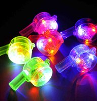 Wholesale Halloween Whistle - FreeShip 50pcs LED Light Up 6*3.2cm Whistle Flashing Glow Sport Whistle with Strap Lanyard Necklace For Party Concert Disco Wedding KTV Gift