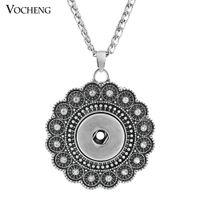 Wholesale Vintage Chain Link Necklaces - VOCHENG NOOSA Ginger Snap Necklace Vintage Flower Pendant 18mm Button Jewelry NN-296