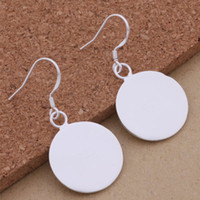 Wholesale Disc Sterling Silver - Fashion (Jewelry Manufacturer) 40 pcs a lot Smooth disc earrings 925 sterling silver jewelry factory price Fashion Shine Earring