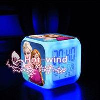 Wholesale Color Dices - 7 Color Change LED Finger Toys Dice New Frozen Digital Alarm Clock Frozen Anna and Elsa Thermometer Night Colorful Glowing Clock BO6972