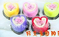 Wholesale Towel Cake Heart Shape - Hot sell!!100% Cotton,Heart shaped cake towels with flower  washcloth Wholesale creative wedding Birthday gift+free shipping order<$15 no tr