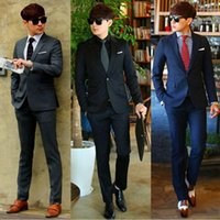 Wholesale black pinstripe dress pants - Hot Sale Men's Formal Suit New Bridegroom Wedding Fashion Slim Custom Fit Tuxedo Business Dress Suits Blazer (Jacket+Pants+Vest)