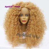 золотые парики оптовых-Афро пушистые кудрявые вьющиеся волосы парик синтетические парики фронта шнурка для черно-белой женщины золотые светлые волосы афро-американских париков