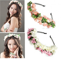 Wholesale fairy accessories - 2018 Summer Colorful Beach Wedding Garland Bohemian Headbands With Multicolor Flowers Floral Garland Bridal Hair Accessories cheap