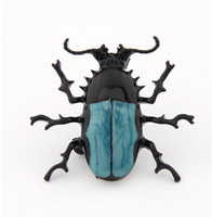 Wholesale Beetle Pin - Fashion Unisex Unique Blue Enamel Bug Beetle Insect Brooch Pin Costume Jewellery Best For Gift Wholesale 12 Pcs